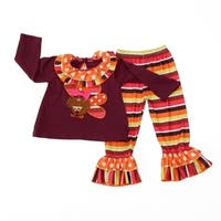 Little Girls Red Multi Color Stripe Thanksgiving Turkey 2 Pc Pant Outfit 2T/3T