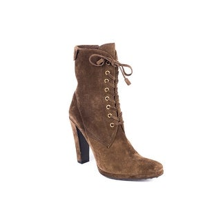 Car Shoe By Prada Brown Suede Lace Up Ankle Boots