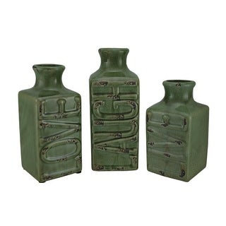 Set of 3 Green Crackle Finish Live Laugh Love Porcelain Vases - 9.5 X 4 X 3.75 inches