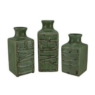 Set of 3 Green Crackle Finish Live Laugh Love Porcelain Vases