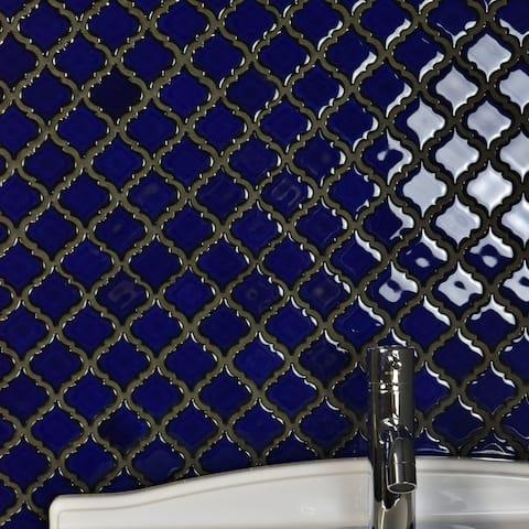 "SomerTile Hudson Tangier Blue Eye 12.38"" x 12.5"" Porcelain Mosaic Tile"