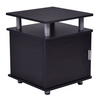 Costway End Table Nightstand Accent Storage Cabinet Couch Side Living Room Furniture