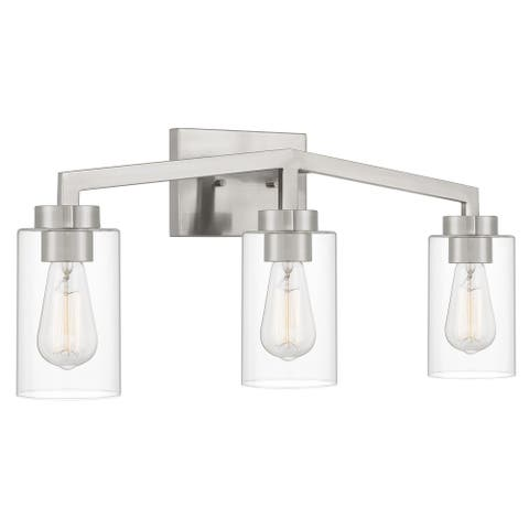 "Metropolis 3 Light Brushed Nickel Finish Vanity Light 5.63""x24""x 10.5"" - Standard Size"