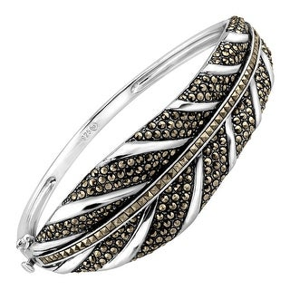Feather Bangle Bracelet With Marcasite in Sterling Silver