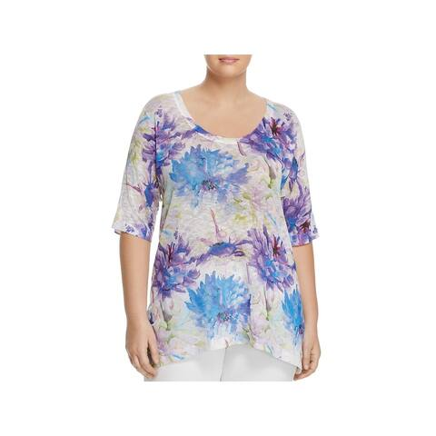 Nally & Millie Womens Plus Graphic T-Shirt Floral Print Short Sleeves