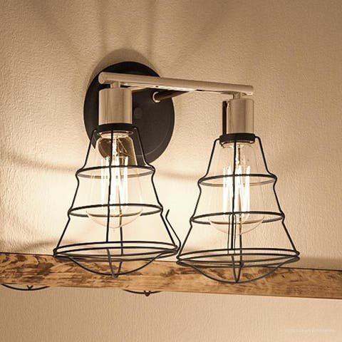 """Luxury Vintage Bathroom Vanity Light, 11""""H x 15.625""""W, with Contemporary Style, Charcoal Finish by Urban Ambiance"""