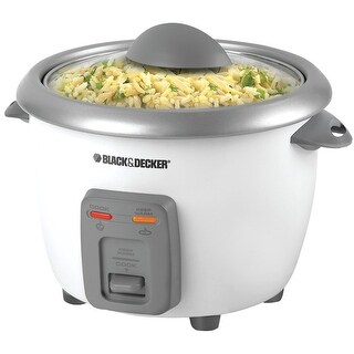 Black & Decker RC506 6 Cup Rice Cooker With Steamer, White