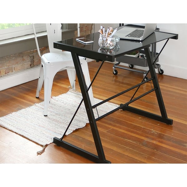 Metal And Glass Black Computer Desk With Keyboard Tray Overstock 3458775