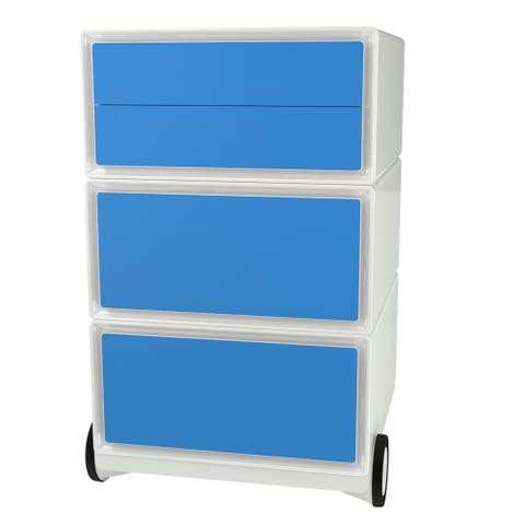 Paperflow EasyBox Three Drawer Mobile Storage Cabinet - White and Blue