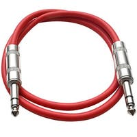 "SEISMIC AUDIO - Red 1/4"" TRS 2' Patch Cable - Effects"