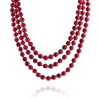 Bling Jewelry Cherry Red Shell Pearl Endless Strand Necklace 69 Inches