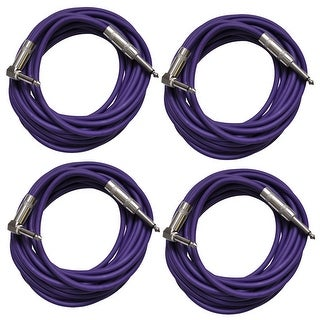 Seismic Audio 4 Pack of Purple 20 Foot Right Angle to Straight Guitar Instrument Cables