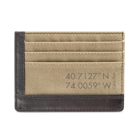 Calvin Klein Mens Canvas Coin Card Case Wallet, brown, One Size - One Size