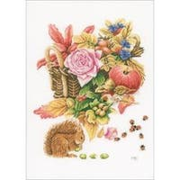 """12.25""""X14.5"""" 27 Count - Lanarte Squirrel On Cotton Counted Cross Stitch Kit"""