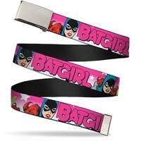 Blank Chrome  Buckle Batgirl Bubble Letters W Stars Pink White Webbing Web Belt