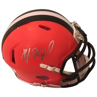 Baker Mayfield Autographed Cleveland Browns Signed Football Mini Helmet PSA DNA COA Silver