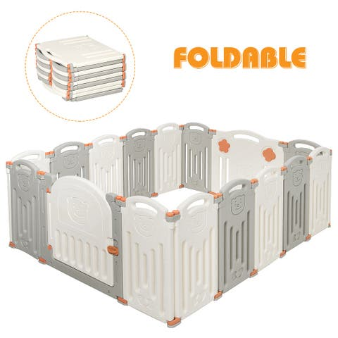 Costway Foldable Baby Playpen 16 Panel Activity Center Safety Play