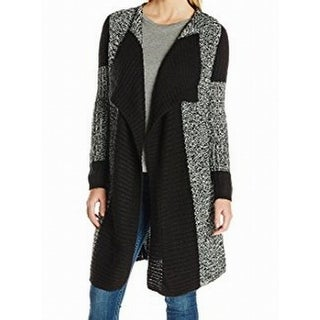 Heather B NEW Black White Colorblocked Knit Medium M Cardigan Sweater