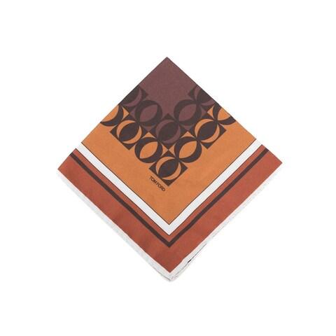 Tom Ford Men Orange Circle Abstract Silk Pocket Square