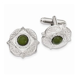 Silvertone Green Jade Filigree Cuff Links