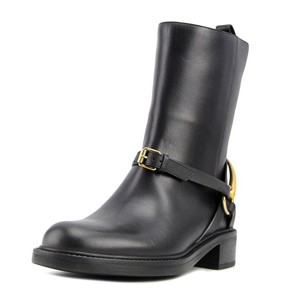 Gucci Lifford Women Round Toe Leather Black Boot