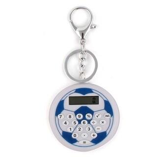LCD Display Football Pattern 8 Digit Pocket Portable Key Chain Ring Calculator