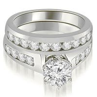 1.65 cttw. 14K White Gold Channel Set Round Cut Diamond Bridal Set