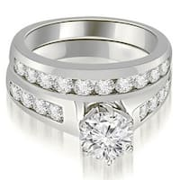 1.90 cttw. 14K White Gold Channel Set Round Cut Diamond Bridal Set
