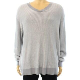 Alfani NEW Light Gray Men Size XL Regular-Fit V-Neck Waffle-Knit Sweater