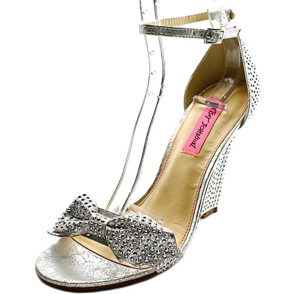 Betsey Johnson Delancyy Women Open Toe Canvas Silver Wedge Sandal
