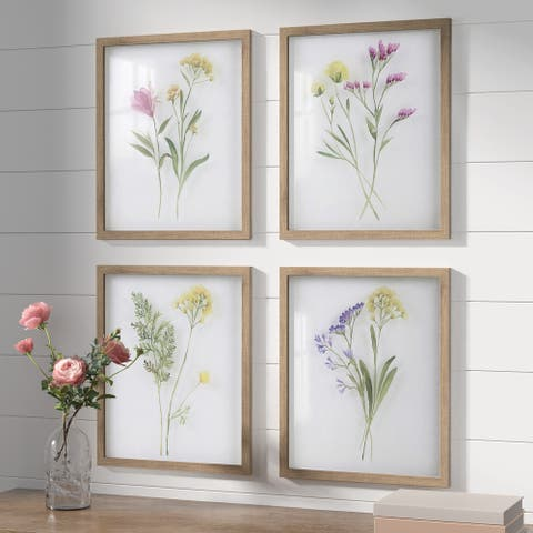 Madison Park Blooming Traces Floral UV Printed Shadowbox 4 Piece Wall Art Set