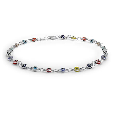 Turkish Evil Eyes Multi Color Anklet Link Ankle Bracelet 925 Sterling Silver 10 Inch