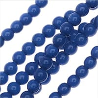 Czech Glass Pastella Collection, Smooth Round Druk Beads 4mm, 1 Strand, Nautical Blue