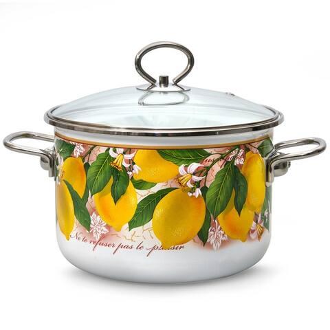 STP Goods Lemons Enamel on Steel 4.2-quart Stock Pot