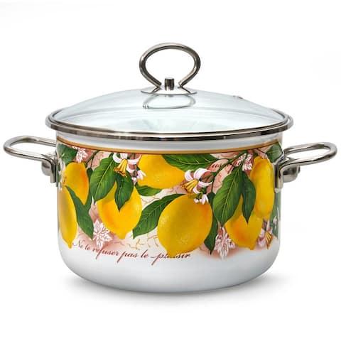 STP Goods Lemons Enamel on Steel 5.3-quart Stock Pot