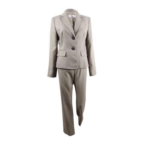 Le Suit Women's Two-Button Pantsuit (4, Cashmere/Black)