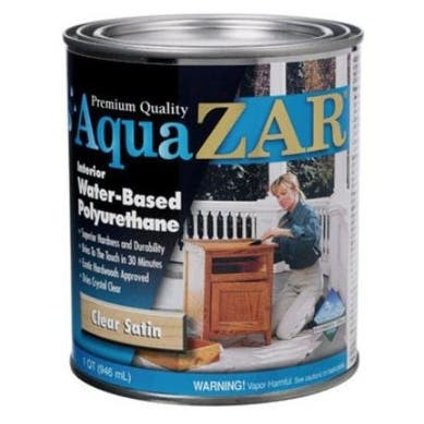 UGL Aqua Zar Satin Water-Based Polyurethane, Clear, 1 Quart
