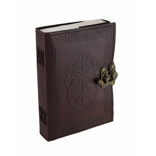 Embossed Leather Peace Sign And Celtic Knotwork Swing Clasp Journal - brown