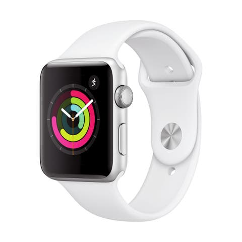 Refurbished Apple Watch 42mm Series 3 GPS Silver & White Band