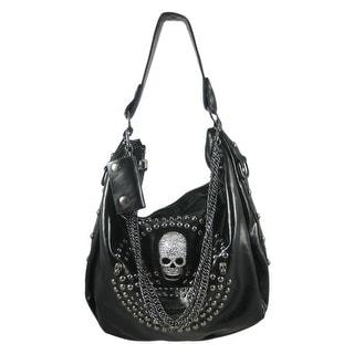 Glossy Gunmetal Studded Rhinestone Skull Handbag