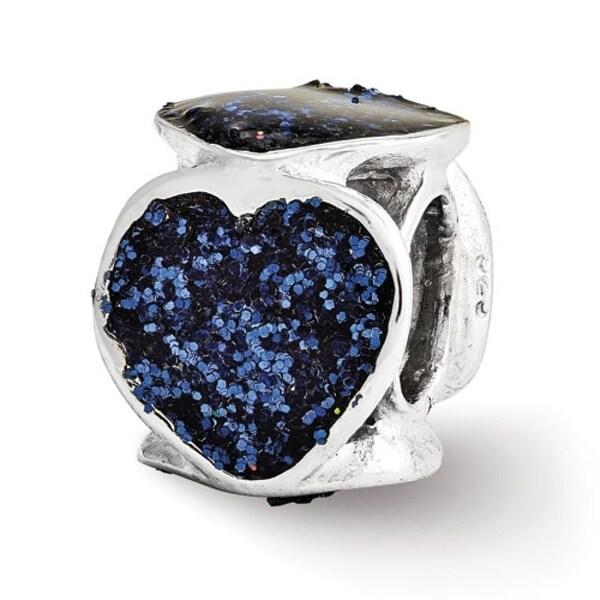 Italian Sterling Silver Reflections Blue Glitter Enameled Heart Bead (4mm Diameter Hole)