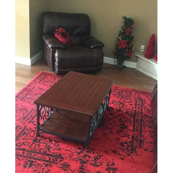 Scrolled Metal And Wood Coffee Table Free Shipping Today 2536112