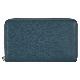 Gucci 321117 XL Teal Blue Textured Leather Zip Around Travel Wallet Clutch