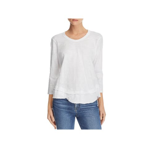Wilt Womens Casual Top Cotton Raw Hem - White