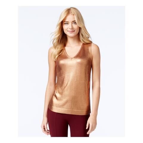 ANNE KLEIN Womens Gold Sleeveless V Neck Top Size M
