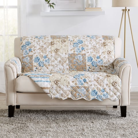 Great Bay Home Maribel Floral Patchwork Reversible Love Seat Furniture Protector