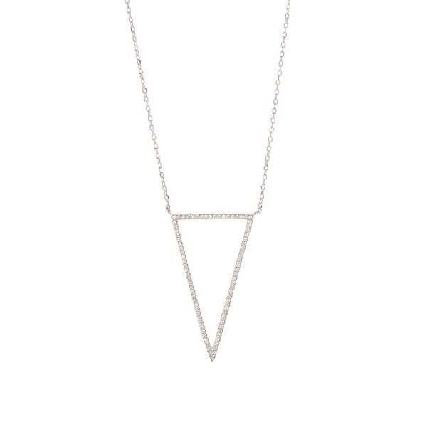 Cubic Zirconia & Sterling Silver Triangle Pendant Necklace