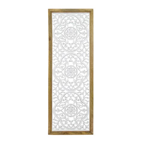 "Brewster FMEX9214A Habitat Amelie 19-1/4"" x 17-1/8"" Floral Framed Wood Me - White / Off White"