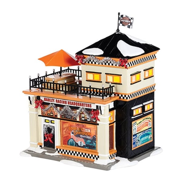 """Department 56 Snow Village """"Harley Racing Headquarters"""" Porcelain Lighted Building #4036563"""