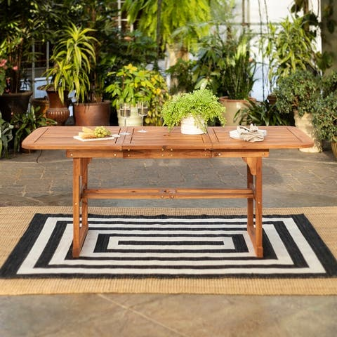 Surfside Brown Acacia Outdoor Extension Dining Table by Havenside Home